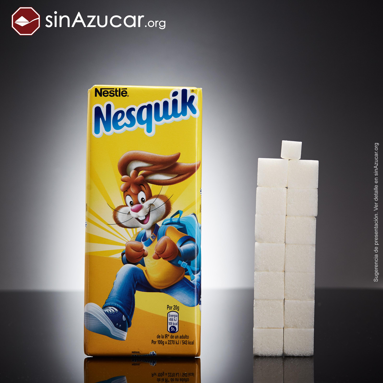 Barra de chocolate Nesquik quantidade de açúcar
