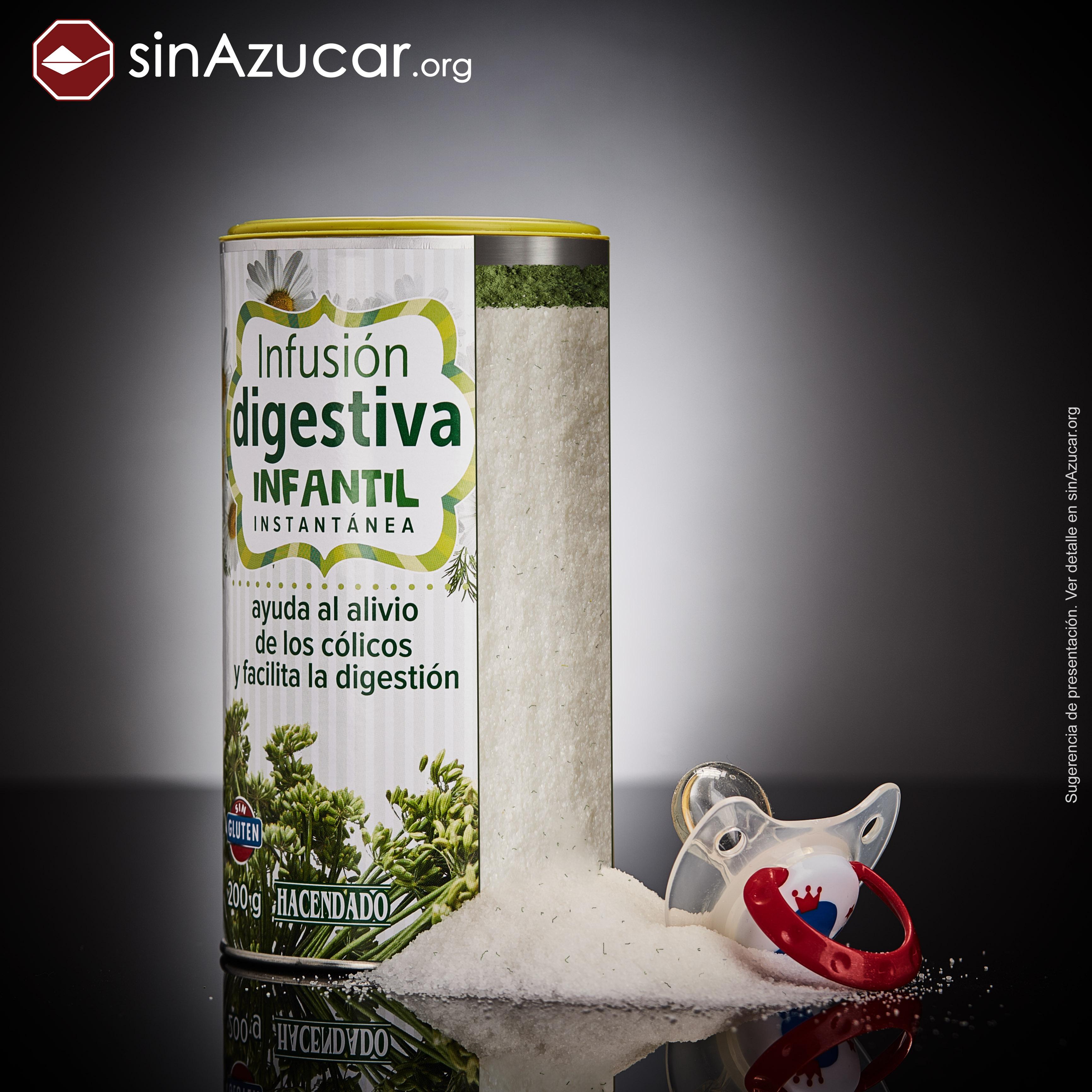 Un bote de Infusión digestiva infantil de Mercadona contiene el 90,1% de azúcar y un 4% de plantas.